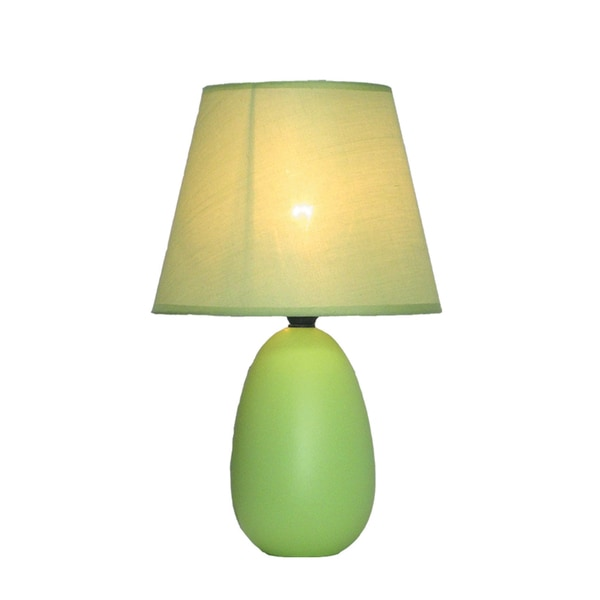 Simple Designs Mini Egg Green Ceramic Oval Table Lamp