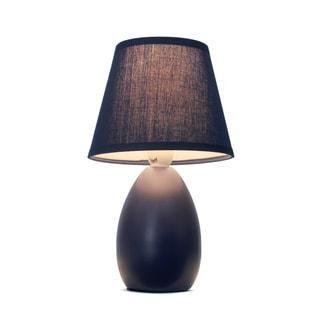 Simple Designs Blue Mini Egg Oval Ceramic Table Lamp