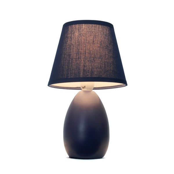 Simple Designs Blue Mini Egg Oval Ceramic Table Lamp