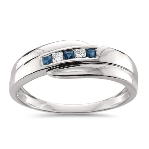 Montebello Jewelry Men's 14k White Gold 1/4ct TGW Princess Cut Sapphire and White Diamond Wedding Band (H-I, I1) - Blue