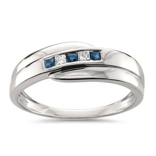 Montebello Jewelry Men's 14k White Gold 1/4ct TGW Princess Cut Sapphire and White Diamond Wedding Band (H-I, I1)