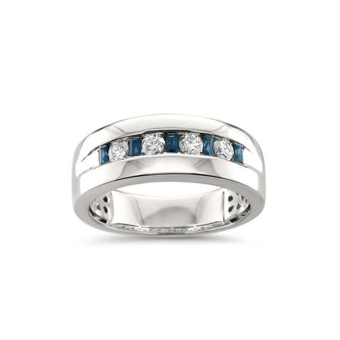 Montebello Jewelry Men's 14k White Gold 5/8ct TGW Sapphire and White Diamond Wedding Band (H-I, SI2-I1) - Blue