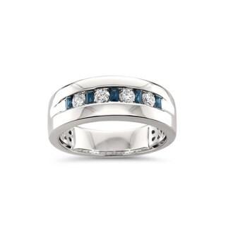Montebello Jewelry Men's 14k White Gold 5/8ct TGW Sapphire and White Diamond Wedding Band (H-I, SI2-I1) - Blue