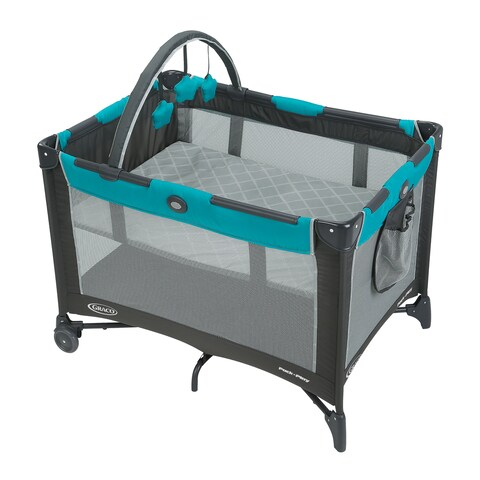 Graco Finch Pack 'n Play Blue Plastic Automatic Folding Feet Play Yard