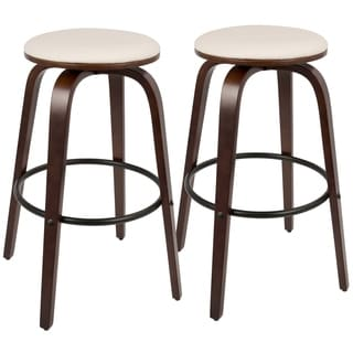 Porto Mid-Century Modern Wood and Faux Leather 30-inch Bar Stool (Set of 2)