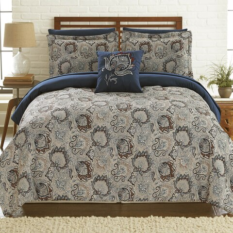 Amraupur Overseas Corsicana 8-Piece Printed Reversible Complete Comforter Bed Set