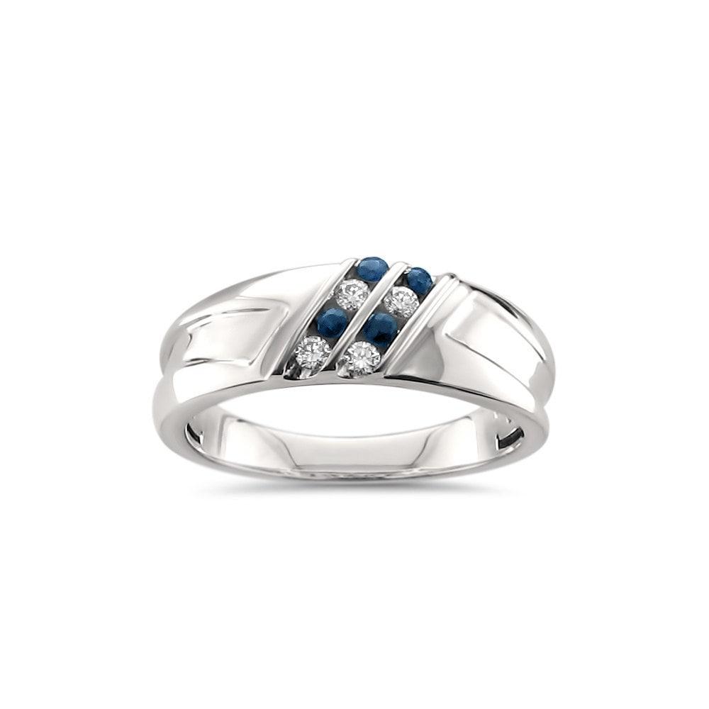 Montebello Jewelry Men's 14k White Gold 1/4ct TGW Blue Sa...