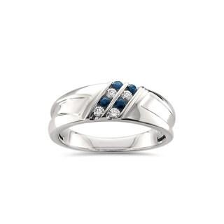Montebello Jewelry Men's 14k White Gold 1/4ct TGW Blue Sapphire and White Diamond Wedding Band