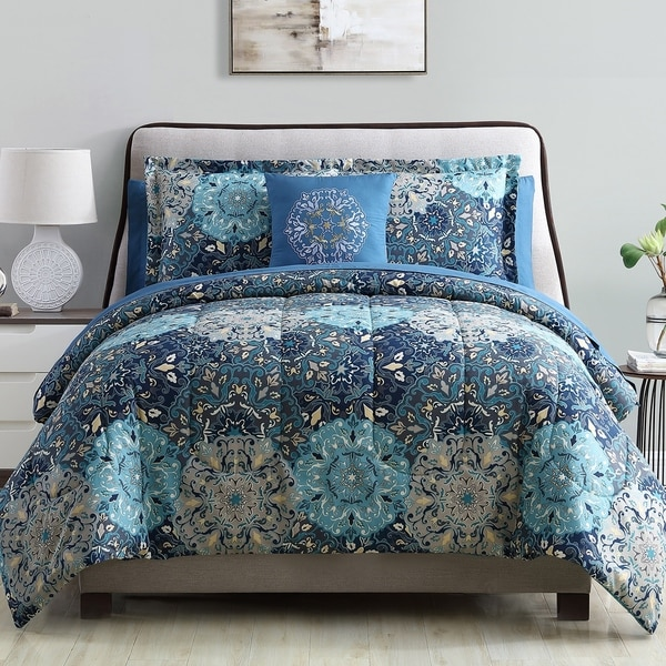 Modern Threads Granada 8-Piece Printed Reversible Comforter Complete Bed Set. Opens flyout.