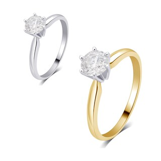 Divina 14K gold 1/5ct TDW Diamond Solitaire Engagement Ring comes in a box. I2)