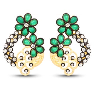 Liliana Bella Gold Plated Floral Dangle Earrings with Green and white Crystals