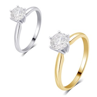 Divina 14K gold 3/8ct TDW Diamond Solitaire Engagement Ring I2)