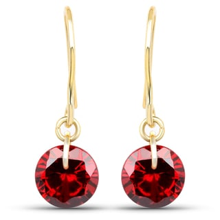Liliana Bella Gold Plated Red Cubic Zirconia Drop Earrings