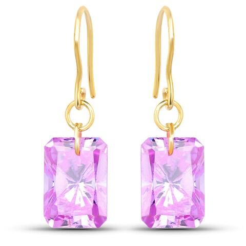 Liliana Bella Gold Plated Amethyst Cubic Zirconia Drop Earrings - Pink