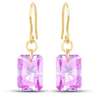 Liliana Bella Gold Plated Amethyst Cubic Zirconia Drop Earrings - Pink