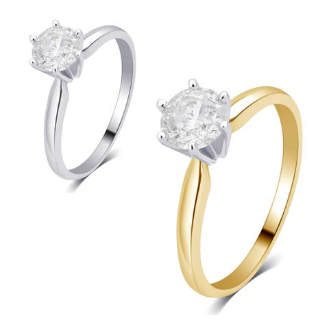Divina 14K gold 1/2ct TDW Diamond Solitaire Engagement Ring I2)