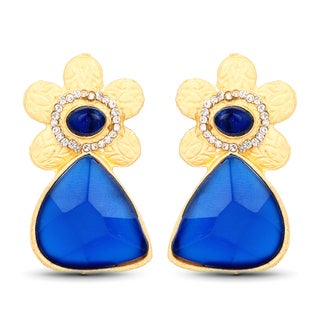 Liliana Bella Gold Plated Floral Dangle Earrings with Blue and white Crystals