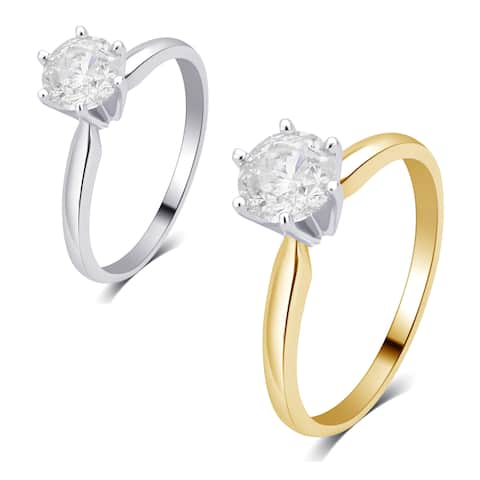 Divina 14K gold 3/4ct TDW Diamond Solitaire Engagement Ring I2)