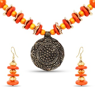 Liliana Bella Gold Plated Handcrafted Orange Beaded Necklace and Earrings Set