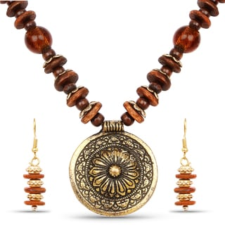 Liliana Bella Gold Plated Handcrafted Brown Beaded Round Necklace and Earrings Set