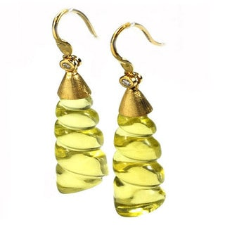 De Buman 18k Yellow Gold Genuine Lemon Quartz and Diamond Earrings (G-H, I1-I2)