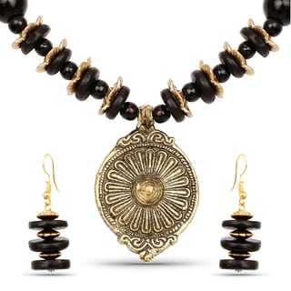 Liliana Bella Gold Plated Handcrafted Black Beaded Round Necklace and Earrings Set