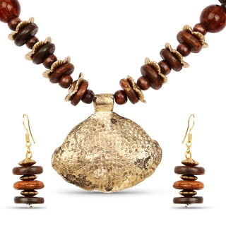 Liliana Bella Gold Plated Handcrafted Brown Beaded Necklace and Earrings Set