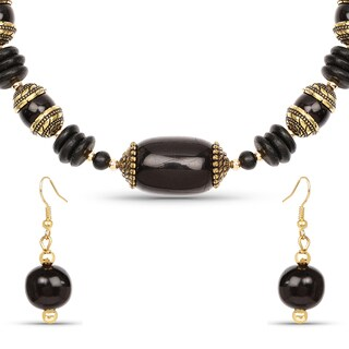 Liliana Bella Gold Plated Handcrafted Black Beaded Necklace and Earrings Set