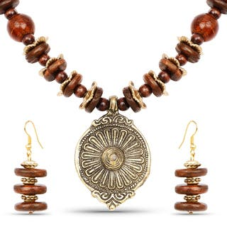 Liliana Bella Goldplated Handcrafted Brown Beaded Necklace and Earrings Set