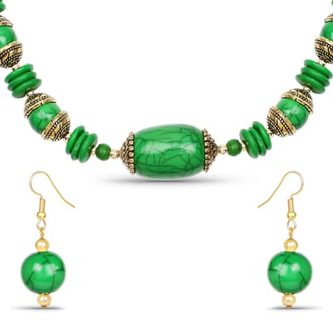 Liliana Bella Gold Plated Handcrafted Green Beaded Necklace and Earrings Set