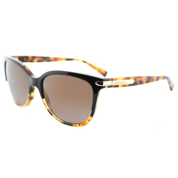 1b66597fb1 Coach HC 8132 5438T5 L109 Black Tortoise Plastic Cat-Eye Sunglasses Brown  Gradient Polarized Lens