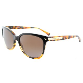 Coach HC 8132 5438T5 L109 Black Tortoise Plastic Cat-Eye Sunglasses Brown Gradient Polarized Lens