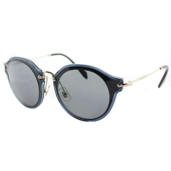 6cc46c2b39b Shop Miu Miu MU 51SS 1AB9K1 Black Plastic Cat-Eye Sunglasses Grey ...