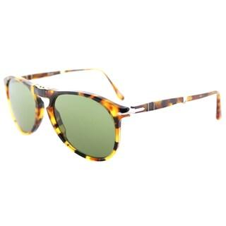 Persol PO 9714S 10524E 714 Series Foldable Madreterra Plastic Aviator Sunglasses Green Lens