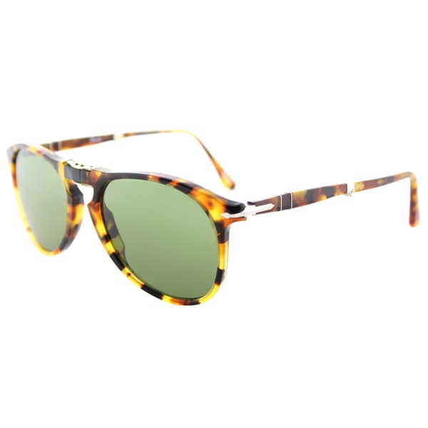 65075937c2012 Persol PO 9714S 10524E 714 Series Foldable Madreterra Plastic Aviator  Sunglasses Green Lens