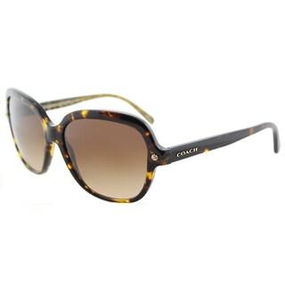 Coach HC 8192 539413 L1613 Dark Tortoise Plastic Square Sunglasses Brown Gradient Lens
