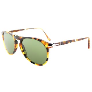 Persol PO 9714S 10524E 715 Series Foldable Madreterra Plastic Aviator Sunglasses Green Lens