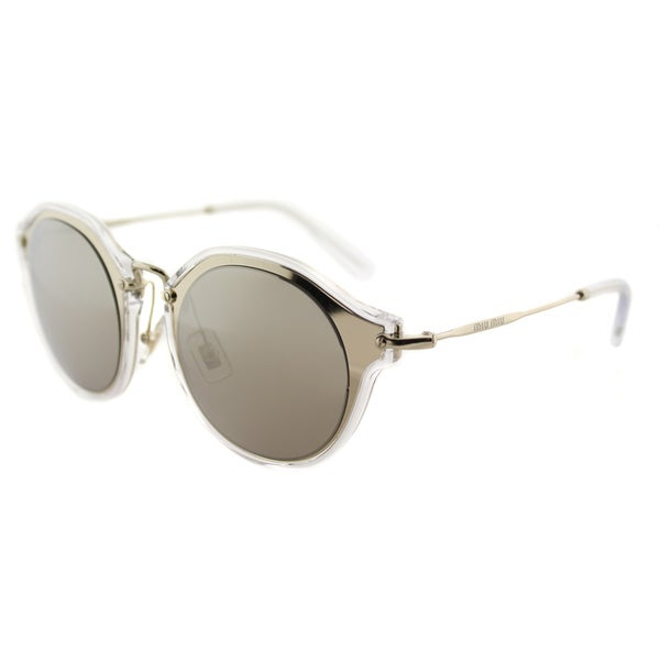 21451b36d08 Miu Miu MU 51SS ZVN1C0 Pale Gold Plastic Cat-Eye Sunglasses Gold Mirror Lens