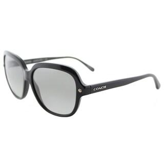Coach HC 8192 542011 L1613 Black Plastic Square Sunglasses Grey Gradient Lens