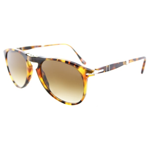c5670fff2d2 Persol PO 9714S 105251 717 Series Foldable Madreterra Plastic Aviator  Sunglasses Brown Gradient Lens