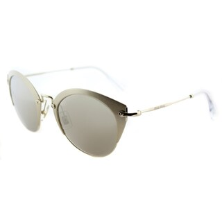 Miu Miu MU 53RS VAF1C0 NIOR Sand Pale Gold Metal Cat-Eye Sunglasses Gold Mirror Lens