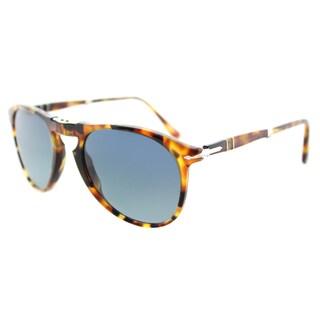 Persol PO 9714S 1052S3 719 Series Foldable Madreterra Plastic Aviator Sunglasses Blue Polarized, Mirrored Lens