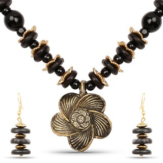 Liliana Bella Gold Plated Handcrafted Black Beaded Floral Necklace and Earrings Set