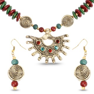 Liliana Bella Gold Plated Handmade Multicolour Beaded Necklace and Earrings Set