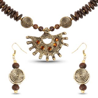 Liliana Bella Gold Plated Handmade Brown Beaded Necklace and Earrings Set