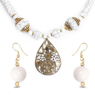 Liliana Bella Gold Plated Handmade White Beaded Teardrop Necklace and Earrings Set