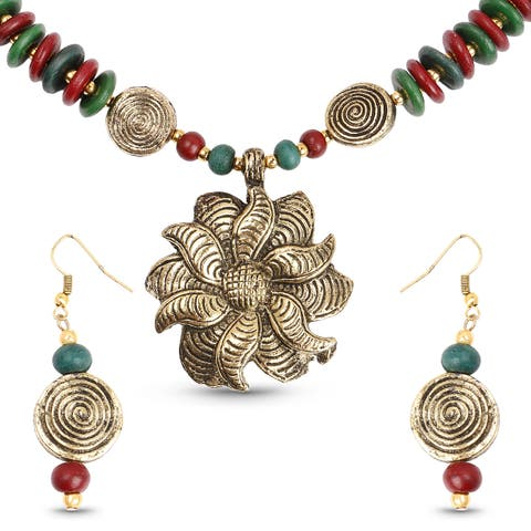Liliana Bella Gold Plated Handmade Multicolour Beaded Floral Necklace and Earrings Set