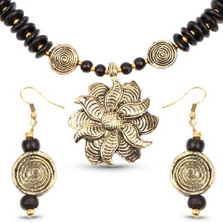 Liliana Bella Gold Plated Handmade Black Beaded Floral Necklace and Earrings Set