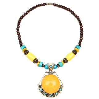 Liliana Bella Oxidised Gold Plated Brown and Turquoise Wooden Beaded Necklace with Orange Glass Stone