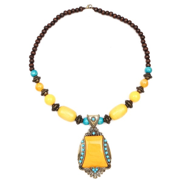 Liliana Bella Oxidised Gold Plated Yellow and Turquoise Wooden Beaded Necklace with Yellow Glass Stone